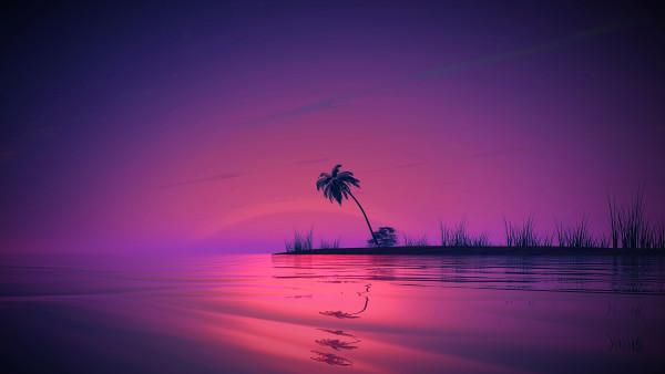 General 3840x2160 sunset reflection landscape palm trees nature