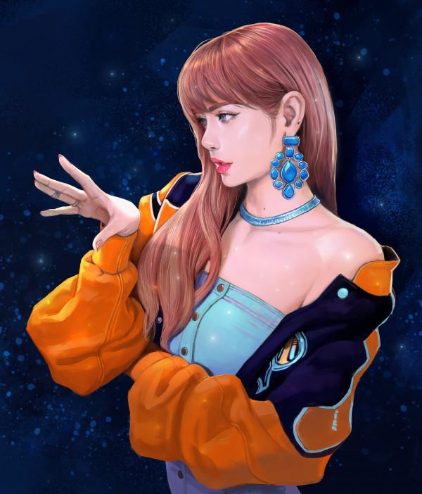 General 3420x4000 Lisa (BLACKPINK) rings portrait display women fan art open mouth redhead open jacket digital art singer artwork ArtStation K-pop